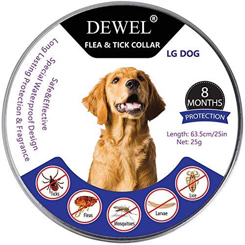 DEWEL Collar Antiparasitos Perro/Gato contra Pulgas,Garrapatas y Mosquitos,Tamaño Ajustable e...
